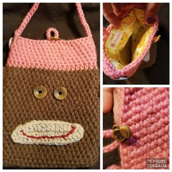 Bags Crochet Sock Monkey Crossbody Bag Euc Poshmark